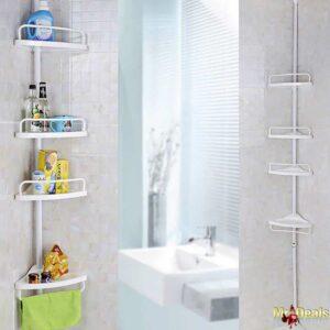 Πρακτική και κομψή γωνιακή τηλεσκοπική ραφιέρα κουζίνας μπάνιου με 4 ράφια σε λευκό σρώμα