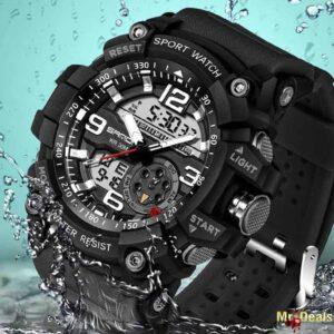 Ψηφιακό ανδρικό ρολόι χειρός αδιάβροχο με ένδειξη ημερομηνίας χρώμα λαδί
