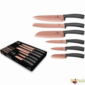Σετ Αντιβακτηριδιακών Αντικολλητικών Μαχαιριών 6 τεμάχια από Ανοξείδωτο ατσάλι σε τρία χρώματα