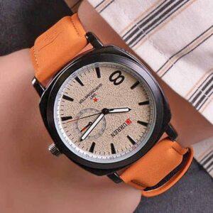 Unisex ρολόι χειρός με ταμπά λουρί και λευκό καντράν by Amaryllida's Art collection
