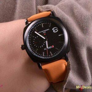 Unisex ρολόι χειρός με ταμπά λουρί και μαύρο καντράν by Amaryllida's Art collection