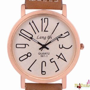 Unisex ρολόι χειρός με ταμπά λουρί και ροζ χρυσή στεφάνη by Amaryllida's Art collection