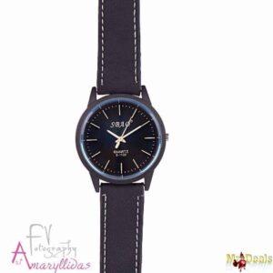 Unisex ρολόι χειρός σε μαύρη απόχρωση με λευκές λεπτομέρειες by Amaryllida's Art collection