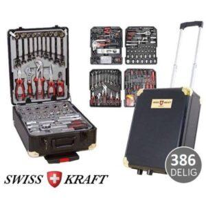 ΝΕΟ ΜΟΝΤΕΛΟ: Βαλίτσα βαρέως τύπου με 386 τεμάχια τροχήλατη με τηλεσκοπική λαβή Swiss Kraft