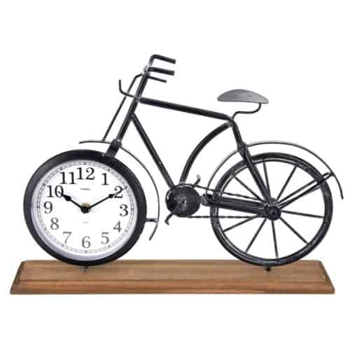 Διακοσμητικό Ρολόι Ρετρό Vintage Επιτραπέζιο Μεταλλικό σε σχέδιο Ποδηλάτου με Ξύλινη βάση