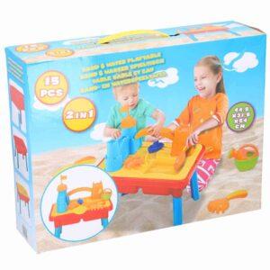 Παιδικό Τραπέζι 2 σε 1 για Άμμο και Νερό 15 τεμαχίων για ατελείωτες ώρες Παιχνιδιού