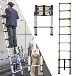 Πτυσσόμενη σκάλα από αλουμίνιο με 9 σκαλοπάτια ύψους έως 260εκ σταθερή μεγάλης αντοχής