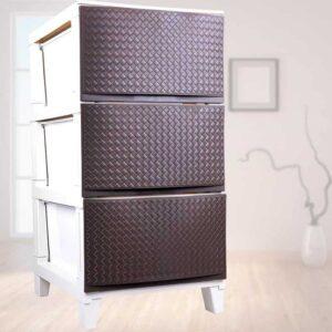 Κομψή Συρταριέρα με 3 συρτάρια διάστασης 34x41x64cm σε καφέ χρώμα για περισσότερο αποθηκευτικό χώρο