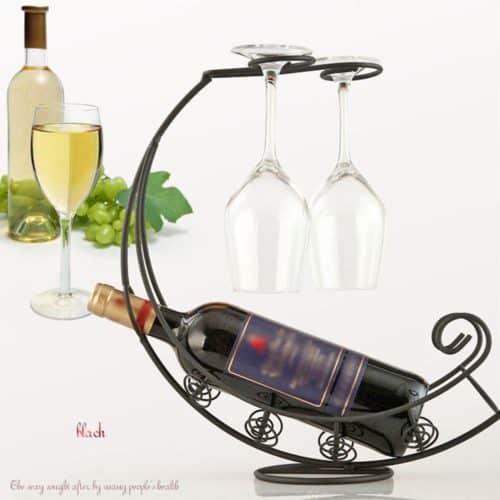 Σετ βάση για μπουκάλι με 2 ποτήρια κρασιού μοναδικό διακοσμητικό για την κουζίνα ή την τραπεζαρία