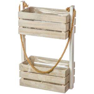 Ξύλινο διακοσμητικό κασπώ διπλό κρεμαστό για γλάστρες φυσικά ή τεχνητά φυτά διάστασης 30Χ15Χ45cm