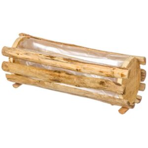 Ξύλινο διακοσμητικό κασπώ εδάφους στρογγυλό για γλάστρες φυσικά ή τεχνητά φυτά διάστασης 35Χ14Χ13cm