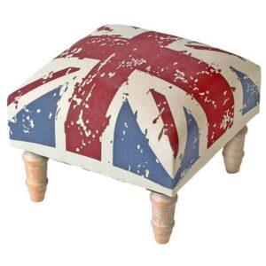 Μοντέρνο διακοσμητικό ξύλινο σκαμπό με σχέδιο αγγλική σημαία διάστασης 30x30x24cm