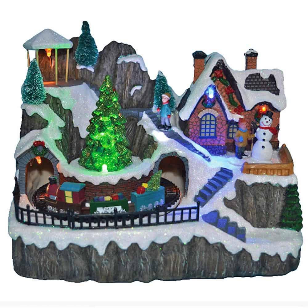 Χριστουγεννιάτικο Διακοσμητικό Χιονισμένο Σκηνικό Χωριό με τρένο, δέντρο, χιονάνθρωπο, φως και κίνηση