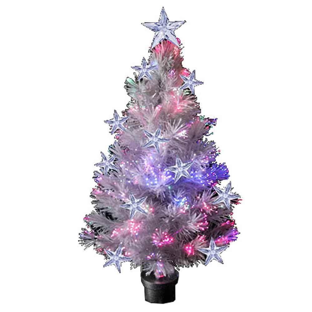 Φωτιζόμενο Χριστουγεννιάτικο Δέντρο Έλατο Λευκό οπτικών ινών και LED ύψους 90cm