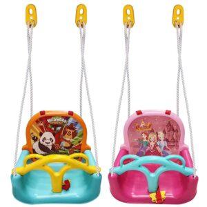 Παιδική κούνια από ανθεκτικό πλαστικό με πλάτη και ζώνη διάστασης 41x37x31cm σε 2 χρώματα