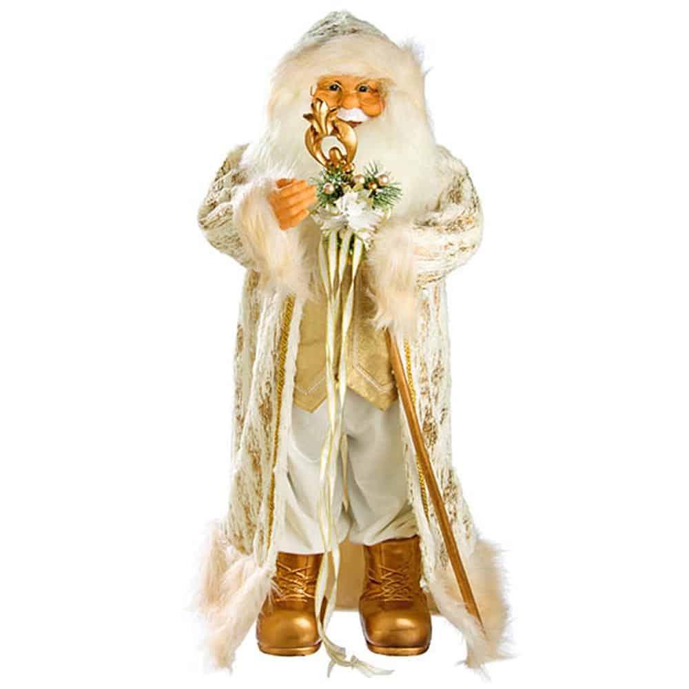 Χριστουγεννιάτικη μεγάλη φιγούρα Άγιος Βασίλης σε χρυσό και λευκό χρώμα με ραβδί και κάπα ύψους 83cm