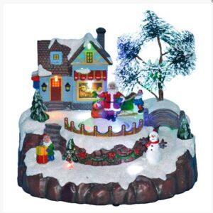 Χριστουγεννιάτικο Διακοσμητικό Χιονισμένο Σκηνικό Χωριό με Άγιο βασίλη με φως και κίνηση