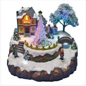 Χριστουγεννιάτικο Διακοσμητικό Χιονισμένο Σκηνικό Χωριό με παγωμένο δέντρο με φως και κίνηση