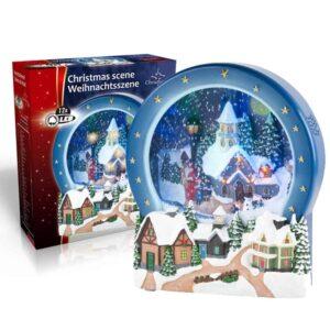 Χριστουγεννιάτικο Σκηνικό Διακοσμητικό με φως 12 LED και Εφέ Χιονιού