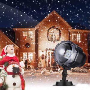 Αδιάβροχος Χριστουγεννιάτικος Προβολέας LED με Εφέ Χιονιού, λευκές κουκκίδες