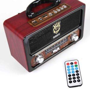 Vintage φορητό ηχοσύστημα με bluetooth, usb, microSD με χερούλι και 2 ηχεία σε Κόκκινο Μαύρο χρώμα