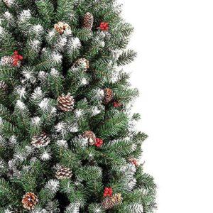 Χριστουγεννιάτικο Δέντρο Χιονισμένο με Κουκουνάρια και Μούρα και μεταλλική βάση, Ύψους 150cm