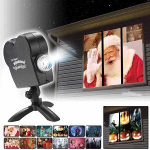 Φανταστικος Χριστουγεννιάτικος Διακοσμητικός Προβολέας Βίντεο στα Παράθυρα με 12 Ταινίες