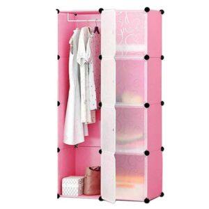Ντουλάπα αποθήκευσης από PVC σε Ροζ χρώμα διαστάσεων 72x145x47cm με εύκολη συναρμολόγηση