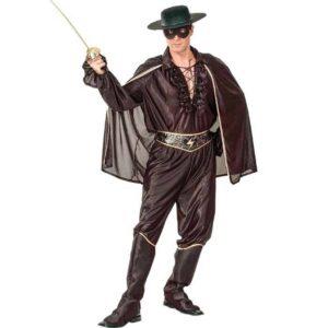 Αποκριάτικη Ανδρική Στολή Μασκοφόρος με καπέλο, μάσκα, πουκάμισο, κάπα, ζώνη, παντελόνι