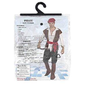 Αποκριάτικη Ανδρική Στολή Πειρατής με πουκάμισο, παντελόνι, ζώνη και αξεσουάρ κεφαλής