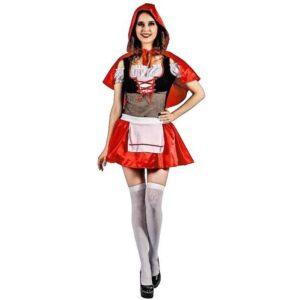 Αποκριάτικη Γυναικεία Στολή Κοκκινοσκουφίτσα με φόρεμα και κάπα με κουκούλα