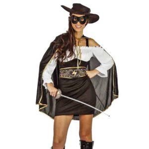 Αποκριάτικη Γυναικεία Στολή Μασκοφόρος με φόρεμα, ζώνη, κάπα, καπέλο και μάσκα ματιών