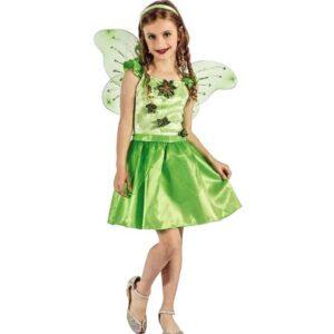 Αποκριάτικη Παιδική Στολή Νεράιδα με φόρεμα, φτερά και αξεσουάρ κεφαλής