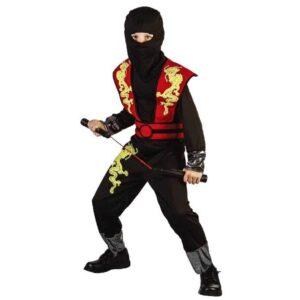 Αποκριάτικη Παιδική Στολή Ninja Κόκκινος με στολή, κουκούλα και ζώνη