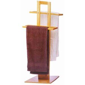 Bamboo Ξύλινη Κρεμάστρα Δαπέδου για το Μπάνιο διαστάσεων 37x25x85cm με μοντέρνο design