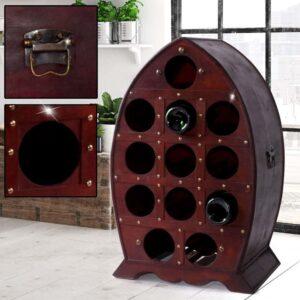 Κάβα Κρασιών Μπουκαλοθήκη Ξύλινο Έπιπλο 12 θέσεων σε vintage αναπαλαιωμένο σχέδιο