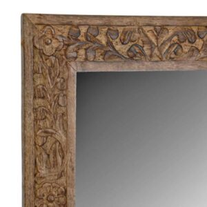 Καθρέφτης Vintage Ινδικός Χειροποίητος από Φυσικό ξύλο με Λεπτομέρεια Σκαλιστή στο Πλαίσιο