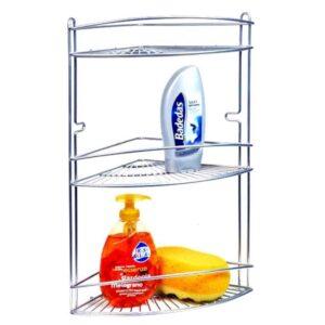 Μεταλλική Γωνιακή Ραφιέρα Μπάνιου με 3 ράφια για το Μπάνιο ή το Ντους από ανοξείδωτο ατσάλι