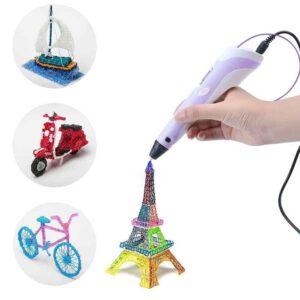 Μοναδικές δημιουργίες με το στυλό για 3D σχεδίαση σε χρώμα Μωβ με 3 ανταλλακτικά