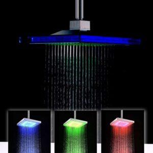Τετράγωνη κεφαλή ντους διάστασης 23x23cm με led που αλλάζει χρώμα ανάλογα με τη θερμοκρασία