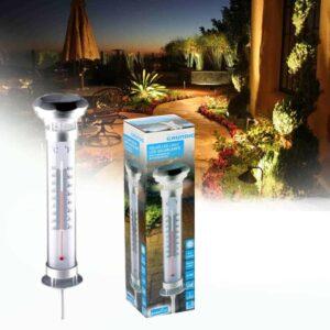 Ηλιακό Φωτιστικό Κήπου LED με Θερμόμετρο ύψους 55cm και ανοξείδωτη βάση Grundig