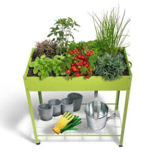 Mini Μεταλλικό Θερμοκήπιο με 2 Ρόδες διάστασης 80x43x132cm Χρώματος Πράσινο