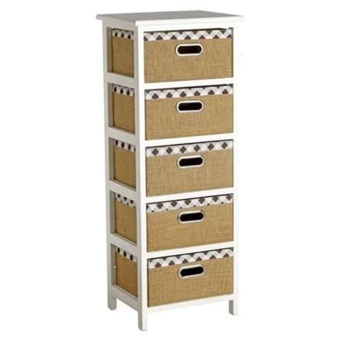Συρταρίερα ξύλινη με 5 συρτάρια με μεταλλικά χερούλια διάστασης 35x23x86cm σε λευκό και καφέ χρώμα