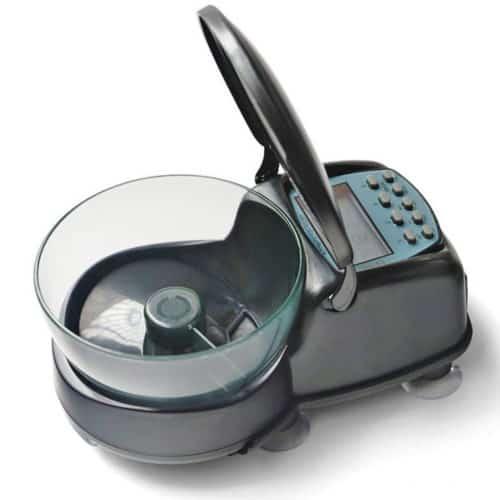 Μικρή και Προγραμματιζόμενη ταΐστρα ενυδρείου 4 γευμάτων με οθόνη και ψηφιακό ρολόι για ακρίβεια