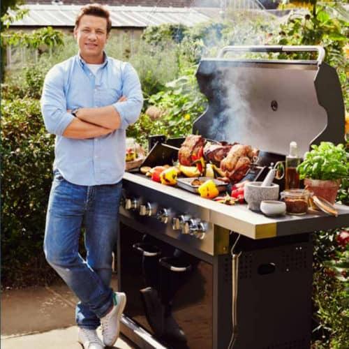 Ψησταριά Αερίου Barbeque Jamie Oliver με 2 καυστήρες και ροδάκια 114x124x62cm κίτρινο χρώμα