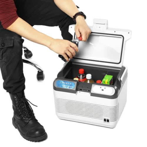 Ηλεκτρικό φορητό ψυγείο 12L ψύξης και θέρμανσης 12V και 220V με αθόρυβη λειτουργία κλείνει με ασφάλεια