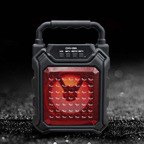 """Φορητό bluetooth LED ηχείο 4"""" με FM/USB/SD/AUX σε χρώμα Μαύρο με Κόκκινο 09Α με πολλαπλές εισόδους και λαβή μεταφοράς 54577"""