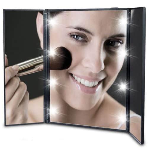 Αναδιπλούμενος καθρέφτης με 8 led σε τρία τμήματα από ανθεκτικό πλαστικό και διπλώνει σαν βιβλίο 54450