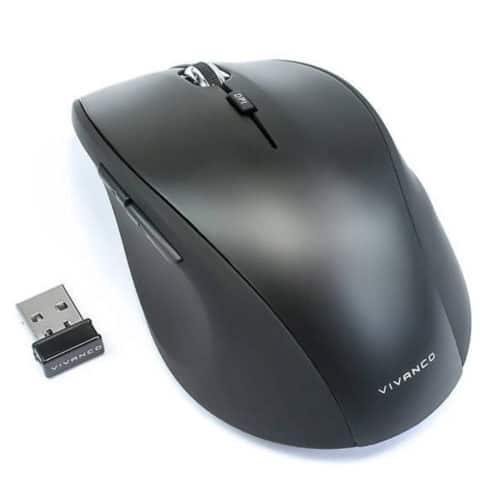 Ασύρματο ποντίκι 5 πλήκτρων με ρυθμιζόμενη ανάλυση έως 1600dpi και εργονομική σχεδίαση μαύρο χρώμα Vivanco 1600