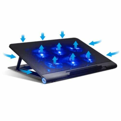 """Βάση ψύξης 18"""" USB με 3 ψύκτες με ενσωματωμένο τροφοδοτικό, ρύθμιση ύψους 2000 σ.α.λ. 34,5x33,5x4,3cm μπλε χρώμα SOG VE-NB8"""